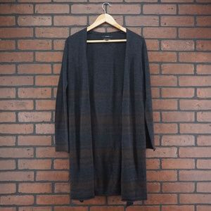 TAHARI Striped 100% Extrafine Merino Wool Cardigan